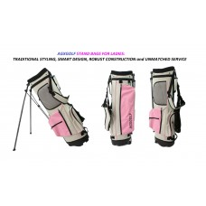 "AGXGOLF LADIES  ""PINK"" FULL SIZE STAND BAG + RAIN HOOD: DUAL STRAP HARNESS: IN STOCK! FAST SHIPPING!"