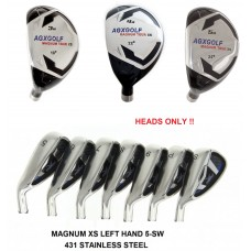 AGXGOLF Magnum XS Iron Heads Sets (LEFT HAND): Select The Combination Best for You: Hybrids: 3, 4 or 5: Irons 5,6,7,8 & 9: PW & SW ! Heads ONLY! 431 Stainless Steel .370 Hosel