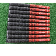 A PACK OF10 AGXGOLF MEN'S CORDED (MULTI-COMPOUND) GOLF GRIPS AND 13 TAPE STRIPS: BLACK/RED