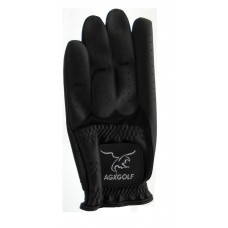 AGXGOLF: ALL BLACK CABRETTA LEATHER GOLF GLOVES for Right Handed Men: 6 PACK; CHOOSE YOUR SIZE