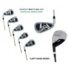 AGXGOLF BOYS LEFT HAND GRAPHITE XLT IRON SET  HYBRID +6,7,8 & 9+PW. AVAILABLE IN TEEN, TALL AND TWEEN LENGTHS