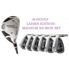 AGXGOLF LADIES LEFT or RIGHT HAND MAGNUM XS IRON SET: w#4 HYBRID + 5, 6, 7, 8 & 9 IRONS + PITCHING WEDGE & SAND WEDGE ALL SIZES IN STOCK