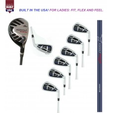 AGXGOLF LADIES MAGNUM GRAPHITE IRON SET #3 HYBRID + 5-9 IRONS + PITCHING WEDGE; PETITE, REGULAR & TALL LENGTHS: BUILT IN THE USA !