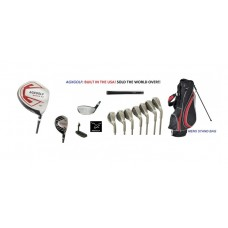 MENS AGXGOLF COMPLETE GOLF CLUB SET w460cc DRIVER 3 WOOD + 3 HYBRID+ 4-PW+STAND BAG + PUTTER; ALL LENGTHS