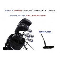 AGXGOLF LEFT-HAND BOYS MAGNUM EDITION GOLF CLUB SET w460cc DRIVER+3 WD+HYBRID+6-PW IRONS+BAG+PUTTER: BUILT inthe USA!!