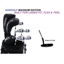 AGXGOLF LADIES LEFT HAND MAGNUM GOLF CLUB SET w/DRIVER+FAIRWAY WOOD+6,7,8,9 IRONS+PW+PUTTER: OPTIONAL BAG