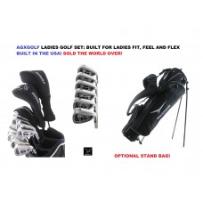 AGXGOLF LADIES MAGNUM GRAPHITE GOLF SET w/DRIVER+FAIRWAY WOOD+5,6,7,8,9 IRONS+PW+PUTTER: OPTIONAL BAG