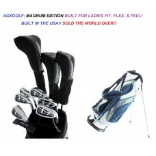 LADIES MAGNUM COMPLETE GOLF CLUB SET WITH LADIES STAND BAG, FREE PUTTER, & HEAD COVERS TALL, PETITE OR REGULAR LENGTH